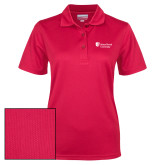 Ladies Red Dry Mesh Polo-University Mark Stacked