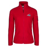 Columbia Ladies Full Zip Red Fleece Jacket-Wolfie Head