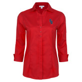 Ladies Red House Red 3/4 Sleeve Shirt-Interlocking SB