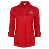 Ladies Red House Red 3/4 Sleeve Shirt-Wolfie Head