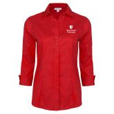 Ladies Red House Red 3/4 Sleeve Shirt-University Mark Vertical