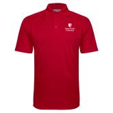 Red Textured Saddle Shoulder Polo-University Mark Vertical