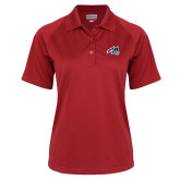 Ladies Red Textured Saddle Shoulder Polo-Wolfie Head