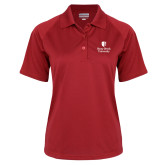 Ladies Red Textured Saddle Shoulder Polo-University Mark Vertical