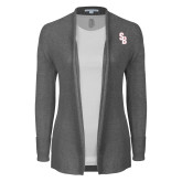 Ladies Heather Grey Open Front Cardigan-Interlocking SB