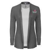 Ladies Heather Grey Open Front Cardigan-University Mark Vertical