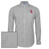 Mens Charcoal Plaid Pattern Long Sleeve Shirt-Interlocking SB