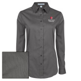 Ladies Grey Tonal Pattern Long Sleeve Shirt-University Mark Vertical