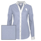 Ladies Red House Diamond Dobby Blue/White Long Sleeve Shirt-Interlocking SB