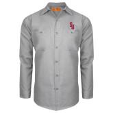 Red Kap Light Grey Long Sleeve Industrial Work Shirt-Interlocking SB