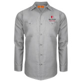 Red Kap Light Grey Long Sleeve Industrial Work Shirt-University Mark Vertical