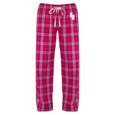 Ladies Dark Fuchsia/White Flannel Pajama Pant-Interlocking SB