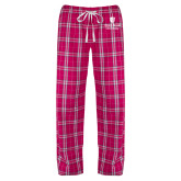 Ladies Dark Fuchsia/White Flannel Pajama Pant-University Mark Vertical