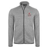 Grey Heather Fleece Jacket-University Mark Vertical