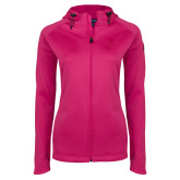 Ladies Tech Fleece Full Zip Hot Pink Hooded Jacket-University Mark Vertical