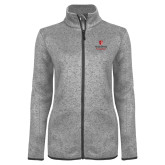 Grey Heather Ladies Fleece Jacket-University Mark Vertical