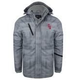 Grey Brushstroke Print Insulated Jacket-Interlocking SB