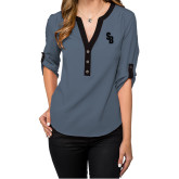 Ladies Posh Slate 3/4 Sleeve Blouse-Interlocking SB