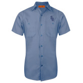 Red Kap Postman Blue Short Sleeve Industrial Work Shirt-Interlocking SB