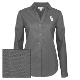 Ladies Red House Diamond Dobby Charcoal Long Sleeve Shirt-Interlocking SB