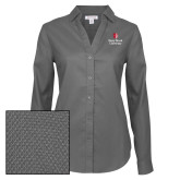 Ladies Red House Diamond Dobby Charcoal Long Sleeve Shirt-University Mark Vertical