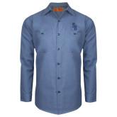 Red Kap Postman Blue Long Sleeve Industrial Work Shirt-Interlocking SB