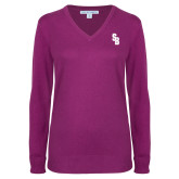 Ladies Deep Berry V Neck Sweater-Interlocking SB