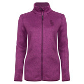 Dark Pink Heather Ladies Fleece Jacket-Interlocking SB