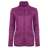 Dark Pink Heather Ladies Fleece Jacket-University Mark Vertical