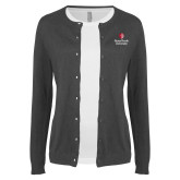 Ladies Charcoal Cardigan-University Mark Vertical