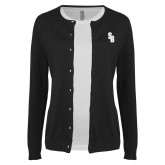 Ladies Black Cardigan-Interlocking SB