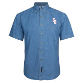 Denim Shirt Short Sleeve-Interlocking SB