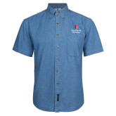 Denim Shirt Short Sleeve-University Mark Vertical