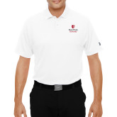 Under Armour White Performance Polo-University Mark Vertical