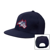 Navy Flat Bill Snapback Hat-Wolfie Head