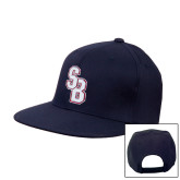 Navy Flat Bill Snapback Hat-Interlocking SB