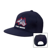 Navy Flat Bill Snapback Hat-Wolfie Head and Stony Brook