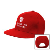 Red Flat Bill Snapback Hat-University Mark Vertical