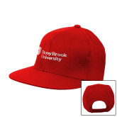 Red Flat Bill Snapback Hat-University Mark Stacked
