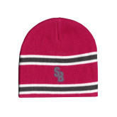 Pink/Charcoal/White Striped Knit Beanie-Interlocking SB