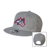 Heather Grey Wool Blend Flat Bill Snapback Hat-Wolfie Head