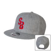 Heather Grey Wool Blend Flat Bill Snapback Hat-Interlocking SB