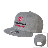 Heather Grey Wool Blend Flat Bill Snapback Hat-University Mark Vertical