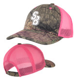 Mossy Oak Camo/Neon Pink Structured Hat-Interlocking SB