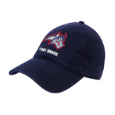 Navy Twill Unstructured Low Profile Hat-Wolfie Head and Stony Brook