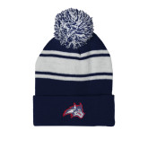 Navy/White Two Tone Knit Pom Beanie w/Cuff-Wolfie Head