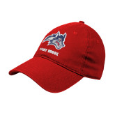 Red Twill Unstructured Low Profile Hat-Wolfie Head and Stony Brook