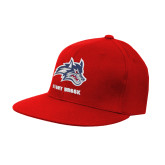 Red OttoFlex Flat Bill Pro Style Hat-Wolfie Head and Stony Brook