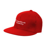 Red OttoFlex Flat Bill Pro Style Hat-University Mark Stacked