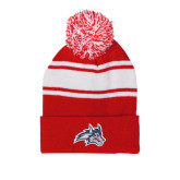 Red/White Two Tone Knit Pom Beanie w/Cuff-Wolfie Head